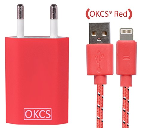 OKCS® Red Schnell und Sicher 1 Meter Textil Lightning Ladekabel zu USB Kabel 8 Pin mit Knickschutz + USB Netzteil 1A Stecker Adapter für iPhone SE / 6 S Plus / 6 S / 5s / 5c / 5, iPad Air / 2 mini / 2 / 3, iPad 4th generation, iPod touch 5th generation, u