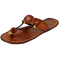 AMPEREUS Women's Brown Leather Kolhapuris - 4 UK