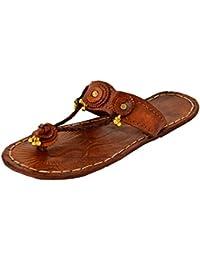 AMPEREUS Ethnic Design Jaipuri Work Brown Leather Kolhapuri for Women & Girls.