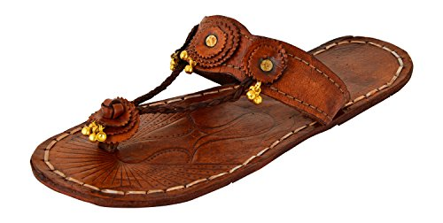 AMPEREUS Women's Brown Leather Kolhapuris - 9 UK
