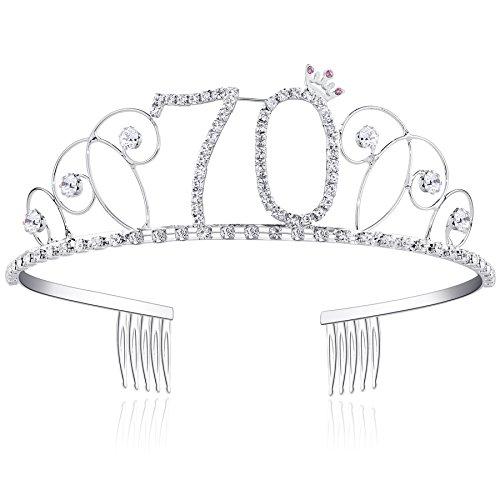 BABEYOND® Kristall Geburtstag Tiara Birthday Crown Prinzessin Kronen Haar-Zusätze Silber Diamante Glücklicher 16/18/20/21/30/40/50/60/70/80/90 Geburtstag (70 Jahre alt) 70