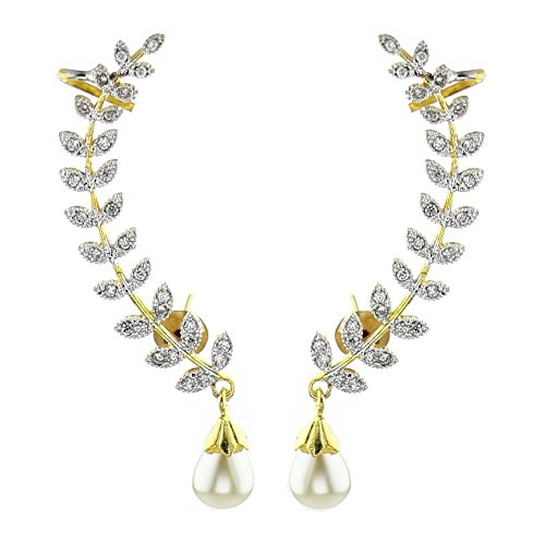 Zeneme Gold Plated American Diamond Leaf Shape Ear Cuff Earring Jewellery For Women / Girls  available at amazon for Rs.299