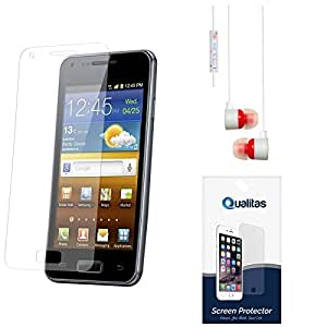 Qualitas Pack of 4 Matte Screen Protector for Lava Iris Atom 2 + White Stereo Earphone with Mic and Volume Control