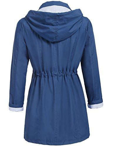 Damen Parka Regenjacke Windbreaker Übergangsjacke Funktionsjacke Regenmantel mit Kapuze Casual Jacke Outwear in 5 Farben Marine