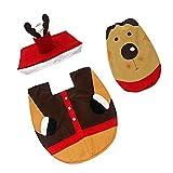 Sharplace Set Di 3 Pezzi Copriwater Copri Serbatoio+Per WC Coperta Di Toilette+ Tappeto Di Natale Pupazzo Di Neve Babbo Natale - Cervo