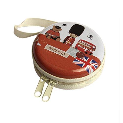 Fulltime® London Series Kopfhörer Trage Box Kopfhörer Schutztasche-Mini Zipper Praktische Tragetasche für In-Ear Kopfhörer Ohrhörer (Orange) (London Tragen)