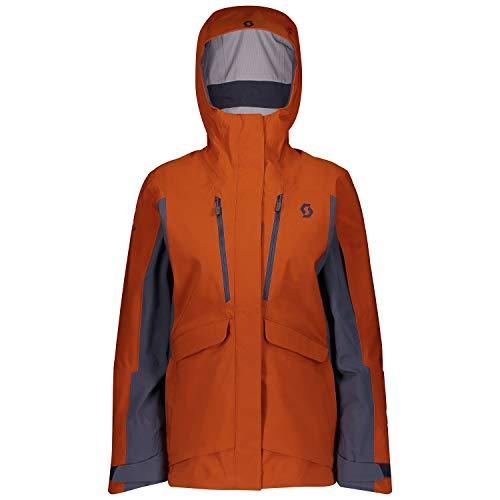 Scott Vertic DRX 3L Jacket Colorblock-Orange, Damen DermizaxTM Regenjacke, Größe XS - Farbe Brown Clay - Blue Nights