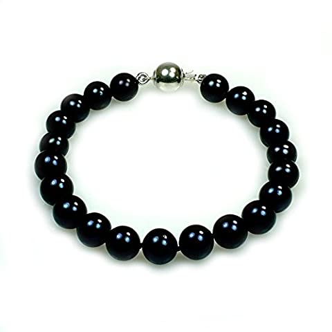 Edith–Noir–Bracelet Perles de culture AAA–Classique Unique fils