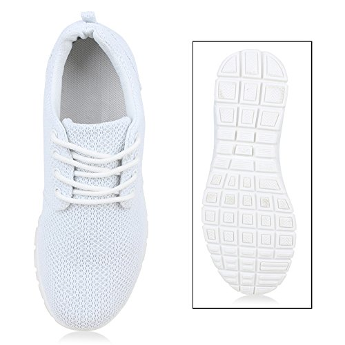 Damen Sportschuhe | Neon Laufschuhe | Runners Sneakers | Fitness Schnürer | Prints Blumen | Übergrößen Weiss Total White