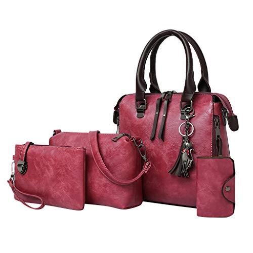 Itchic 4pezzi/set borse borsa donna tracolla spalla borse a mano grande tote crossbody del borsetta delle donne di modo del sacchetto di cuoio della spalla di borsa del supporto di carta borsetta