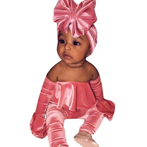 Yazidan Kleinkind Baby Mädchen Winter Schulterfrei Solid Cord Langarm Tops Body Romper Hosen Overalls Jumpsuit Strampler + Stirnband Outfits Kleidung Set -