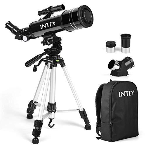 INTEY Teleskop - 400 mm Fokuslänge und 70 mm Blende, 2 Augenstücke Teleskop mit verstellbarem Stativ & drehbarer Linse, Flexible Bedienung für Anfänger und Jugendliche