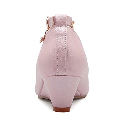 VogueZone009 Damen Mittler Absatz Rein Schnalle Weiches Material Rund Zehe Pumps Schuhe Pink