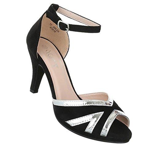Damen Pumps Schuhe Elegant High Heels Peep Toe Schwarz