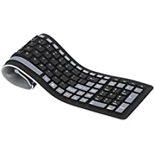 KKmoon 2.4G Ultradelgado Roll Teclado Inalámbrico de Silicón Flexible Lavable Resistente al Agua con Receptor USB para PC Tablet Laptop Ordenador Portátil