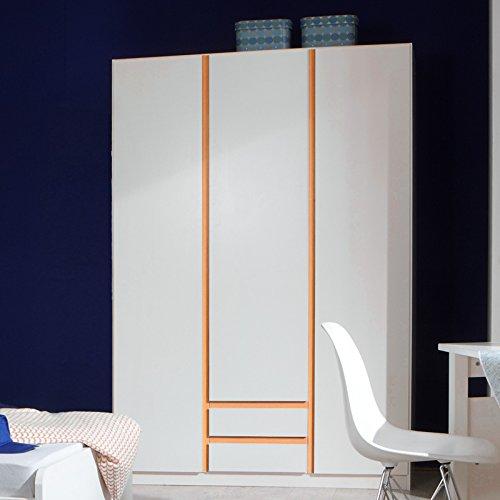 Kleiderschrank »BIRBA166« alpinweiß orange