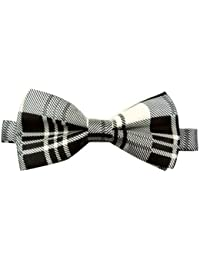 En satin-homme-noir/blanc-motif tartan luxury réglable queue de pie noir/blanc/motif tartan)