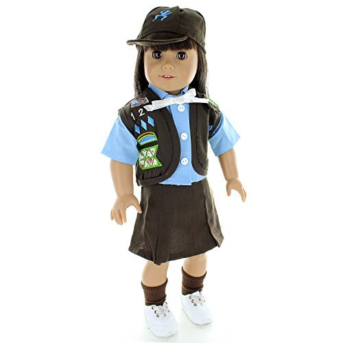 Doll Clothes - Brownies Girl Scout Uniform Outfit Fits American Girl Doll, My Life Doll, Our Generation and other 18 inch Dolls by Pink Butterfly Closet