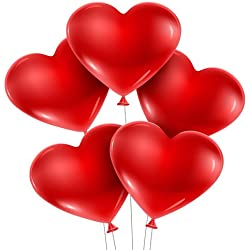 PACK Of 50 Red Heart Shape Balloons For Party , Festival , Wedding , Birthday, Baby Shower Decoration & New Year , Cristams , Velentine's Day Celebration