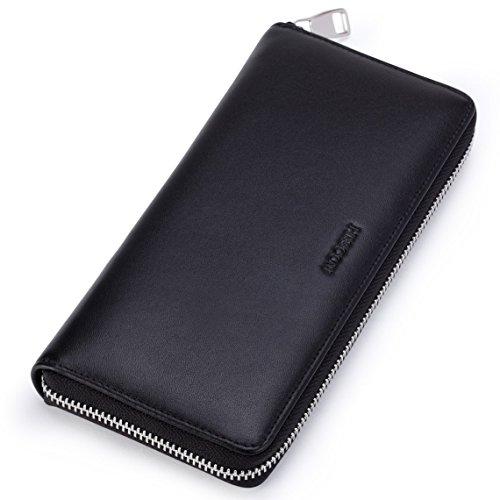 Hobo International Womens Wallet (hiscow Metall Reißverschluss Lange Geldbörse Schwarz mit 2CASH-fach–italienischem Kalbsleder)