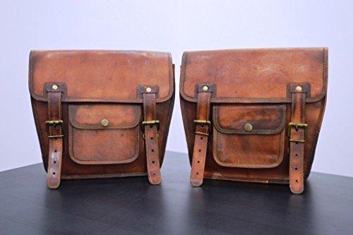 LBH Seite mit braunem Leder Tasche Satteltaschen für Sattel Tanktasche 2Taschen für Fahrrad-Motorrad-Fahrrad