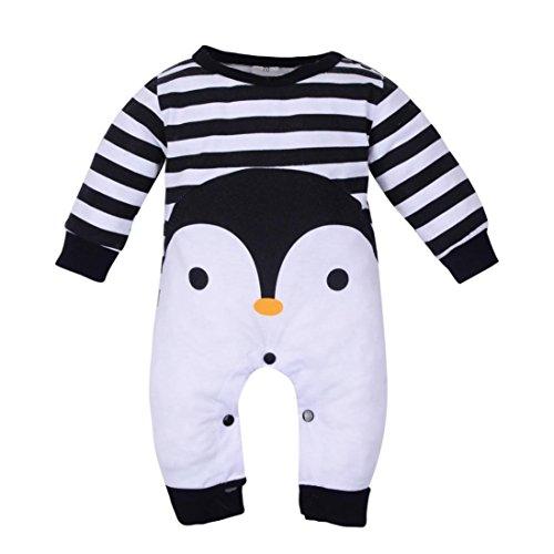 Xinantime Bebé recién nacido Boy manga larga de dibujos animados Print Romper Jumpsuit trajes de pijamas De 0 a 2 años (12-18 meses, Negro)