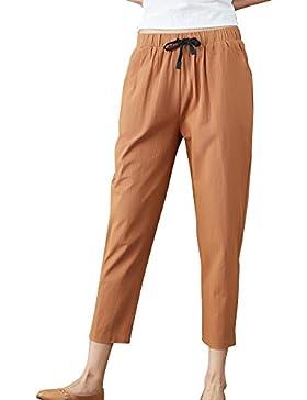 Mujer Suelto Loose Pantalones Harem Cintura Alta Pantalones Con Cordón