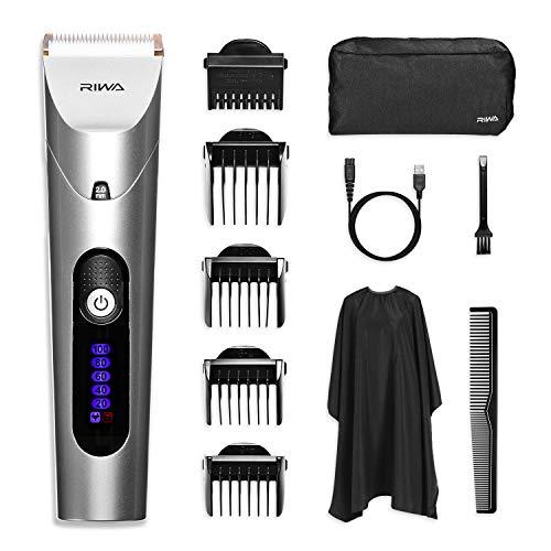 Haarschneider Profi Haarschneidemaschine Bartschneider Männer LCD Präzisionstrimmer Hair Clipper Elektrischer Wiederaufladbare Haartrimmer Set mit 5 Aufsätzen für Kinder und Herren -