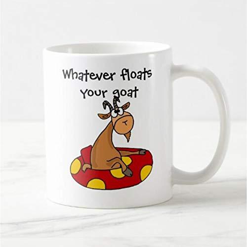 HUYHUY Lustiger Karikatur-Ziegen-Becher Lustiges Ziegen-Sagen Kaffeetassen Schalen, Was Auch Immer Ihre Ziegen-Karikatur-Milch-Tee-Reise-Schalen-Hauptgeschenke Schwimmt - Ziegen-milch-bar