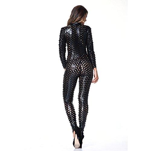 I-glam women'gothique rihanna celebrity perforatrice combinaison Noir - Noir