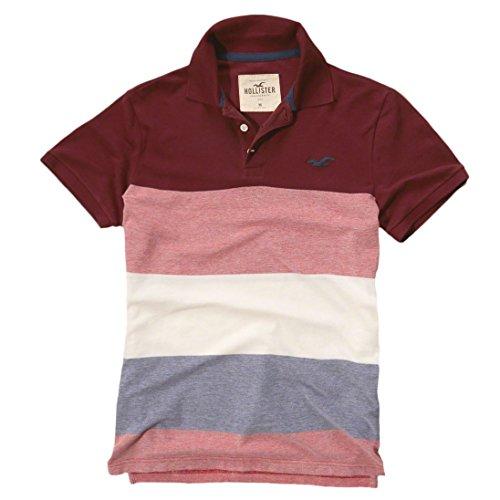 hollister-polo-polo-bsico-manga-corta-para-hombre-rojo-burgundy-stripe-medium
