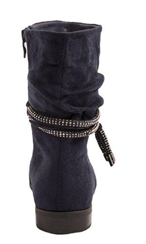 Elara Damen Stiefelette | Klassische Halb Stiefel | Zipper Wildlederoptik Blau