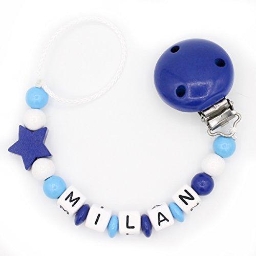 """Schnullerkette """"Mundspiel"""" mit Namen - Junge - dunkelblau - Geschenk zur Geburt oder Taufe (Milan) (Holz Milan)"""