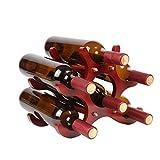 QIANGZI 6 Flaschen Holz Weinregal Kabinett Frei Stehend Für Küche Wohnzimmer Lagerung Regal Ständer Halter Rot 26 × 16,5 × 21,5 cm