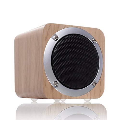 ZJHNZS Bluetooth-Lautsprecher Retro Holz Bluetooth Lautsprecher Wireless Subwoofer Stereo Sound Box mit FM Radio AUX TF Karte MP3 Musik Player Holz, White Oak -