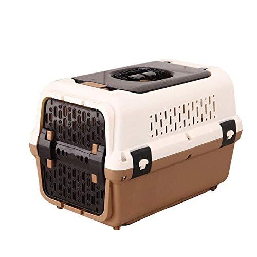 WTY Pet Rucksäcke Pet Air Box, Hundekatze Box mit Oberlicht-Urinabscheider Atmungsaktive Belüftung Leicht zu reinigende Luft Transport Abgehender Transportkäfig,Brown,L