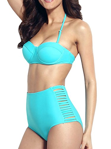 DELEY Retro Sexy Vita Alta Push Up Bikini Halter Bandeau Costume Da Bagno Blu