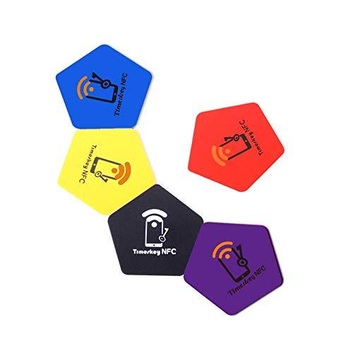 NFC Ntag215 Tag PVC Pentagon, 5 Couleurs, NXP NTAG 215 Avec 504 Octets de  Mémoire,Fonctionnant sur tous les appareils NFC Compatible avec Amiibo