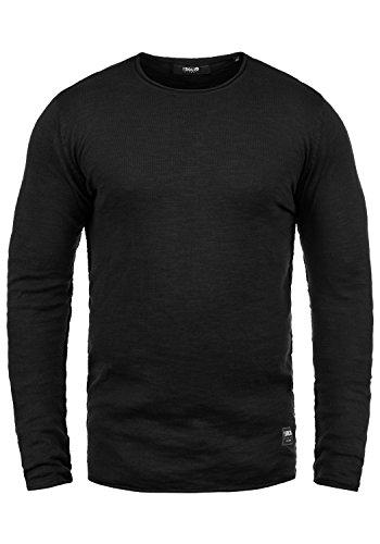 !Solid Krimmich Herren Strickpullover Feinstrick Pullover Mit Rundhals Aus 100% Baumwolle, Größe:L, Farbe:Black (9000)