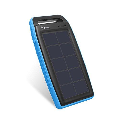 BigBlue Solar Ladegerät 10000 mAh Powerbank Externer Akku 2 USB Ports mit 6 LED Taschenlampe, Wasserdicht, ideal für Outdoor, geeignet für Iphone, Sumsung, Huawei, Tablets und mehr, in Blau