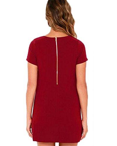 Auxo Eté Femmes Casual Long Chemise Manches Courts Zipper Tunique Cocktail Mini Robe de Plage Vin Rouge