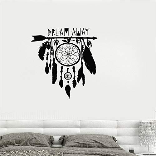 Ajcwhml Atrapasueños Etiqueta de la Pared Vinilo Calcomanía Dream Catcher Amuleto Plumas Símbolo de la Noche Pegatinas de la India Dormitorio Sala de Estar Mural Azul 72x84cm