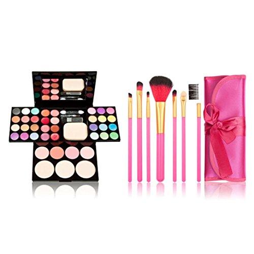 Susenstone Maquillage Kit Palette ombres à Paupières Lèvres Gloss Fondation Fard à Joues Poudre Brosse Gift Set