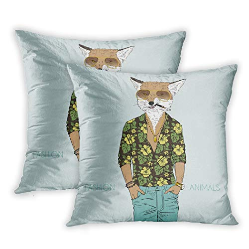 Nekkzi Cushion Covers Set of Two Print Animal Fox Dressed Up in Aloha Hipster Panther Guy Sofa Home Decorative Throw Pillow Cover 18x18 Inch Pillowcase Hidden Zipper
