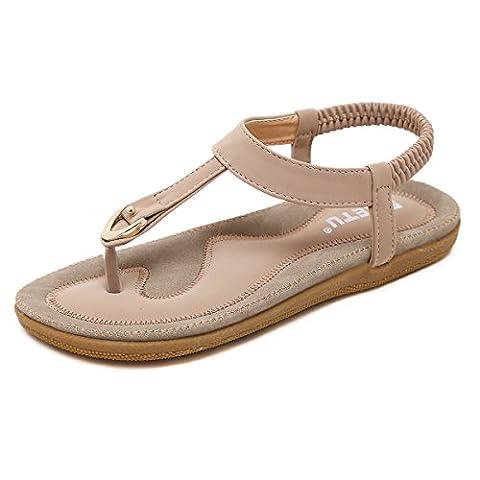 Damen Sandalen, Gracosy Sommer Sandals Flach Zehentrenner Böhmischer Stil T-Strap Flats Offene Schuhe Strand Flip Flops Beige