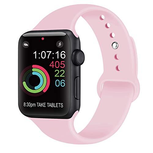 AK kompatibel mit für Apple Watch Armband 42mm 38mm 44mm 40mm, Weiche Silikon Sport Ersatz Armbänder kompatibel mit für iWatch Series 4, Series 3, Series 2, Series 1 (08 Rosa, 38/40mm S/M)