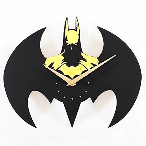 Dreidimensionale Batman-Wanduhr Kreativer Modefilm Und Familienhieb-Wanduhr Uhr-Quarzkarikatursilo-Wanduhr,Yellow