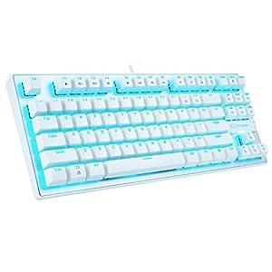 Mechanische Tastatur, 87 Tasten, klein, kompakt, Mehrfarbig, Hintergrundbeleuchtung