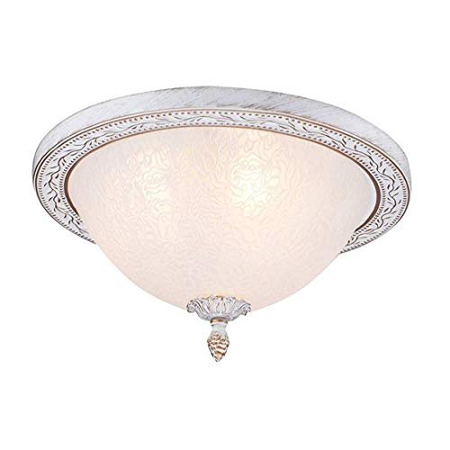 Lichtantique Classic Elegant Ceiling Lamp, Cream Metal Frame, White Glass Shade With Floral Ornament, Excl. 3 Bulbs X E27 40W [Energy Class A++]