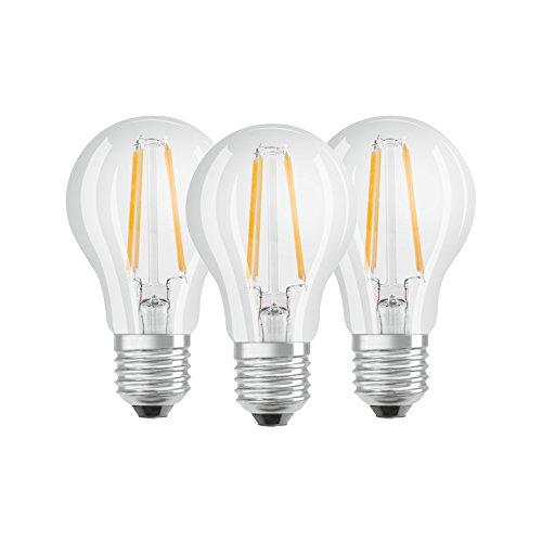 Osram LED Base Classic A Lampe, in Kolbenform mit E27-Sockel, nicht dimmbar, Ersetzt 60 Watt, Filamentstil Klar, Warmweiß - 2700 Kelvin, 3er-Pack -